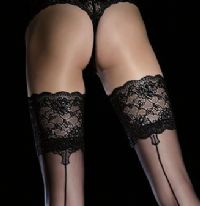 Black Seamed Holdup Stockings with Scalloped Lace Top